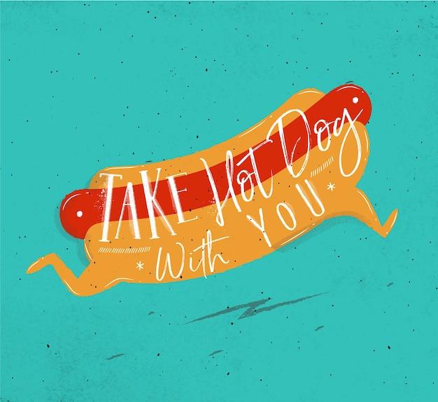 Plakat z hot-doga w stylu retro napis
