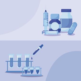 Plakat z ikonami szczepień i zdrowia, szczepienia medyczne