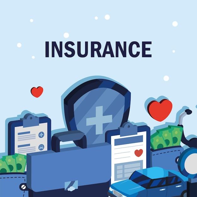 Plakat z ikonami ubezpieczenia samochodu i medycyny
