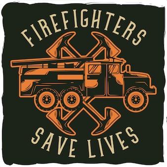 Plakat z ilustracją ciężarówki z siekierami