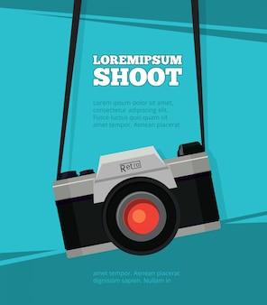 Plakat z ilustracyjnym retro kamera szablon