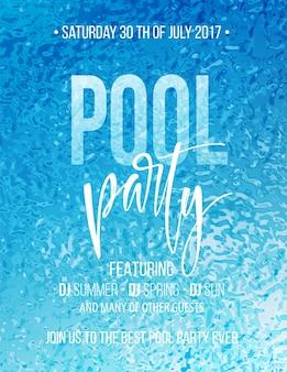 Plakat z imprezą przy basenie z niebieską falą wody i tekstem pisma odręcznego.