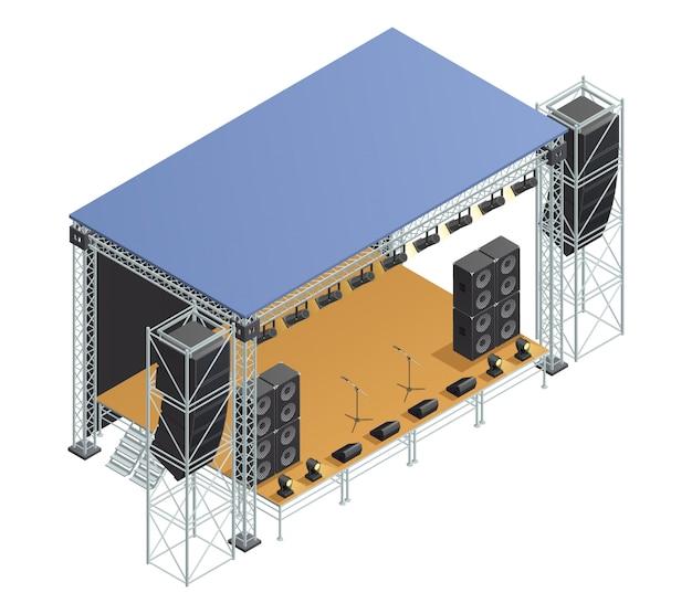 Plakat z izometrycznym obrazem metalicznej konstrukcji sceny z reflektorami mikrofonów głośnikowych i