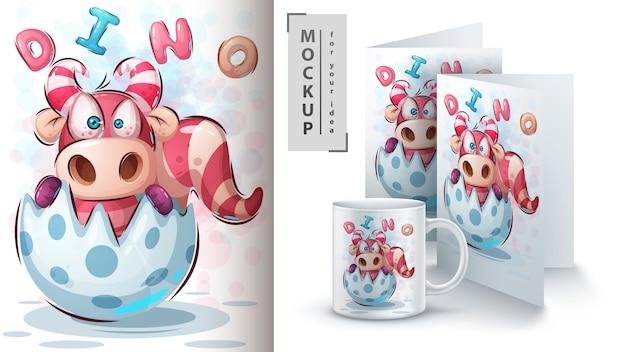 Plakat z jajkiem urodzinowym dino i merchandising