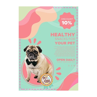 Plakat z jedzeniem dla zwierząt ze zdjęciem