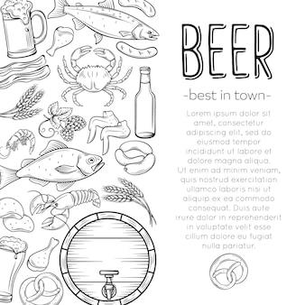 Plakat z jedzeniem i piwem w pubie
