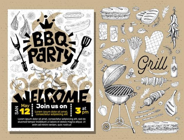 Plakat z jedzeniem na grillu.