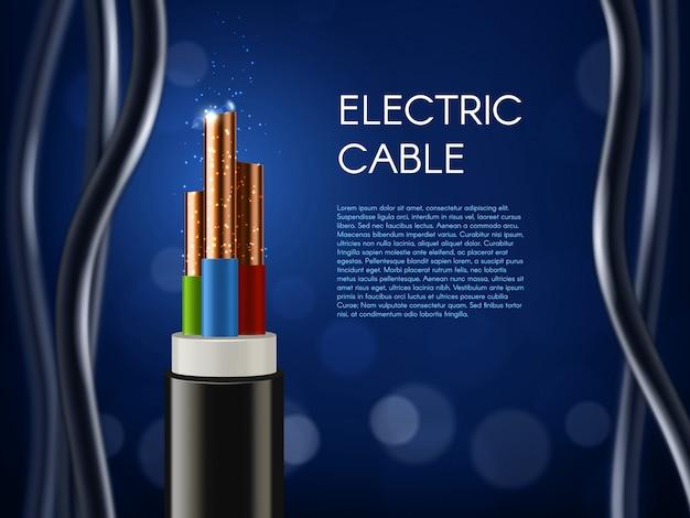 Plakat z kablami elektrycznymi z żyłami miedzianymi
