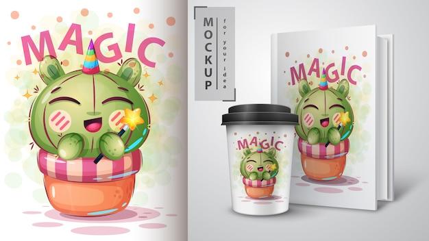 Plakat z kaktusa jednorożca i merchandising