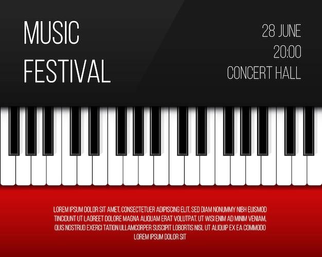 Plakat z klawiszami fortepianu