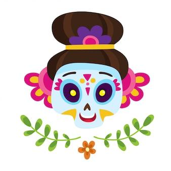 Plakat z kolorową cukrową czaszką na dzień zmarłych lub halloween na białym tle na meksykańskie wakacje w stylu kreskówkowym.