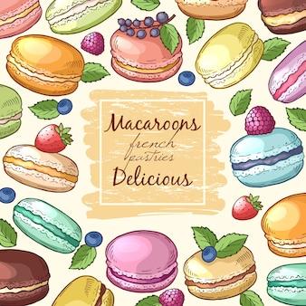 Plakat z kolorowymi ilustracjami makaroniki