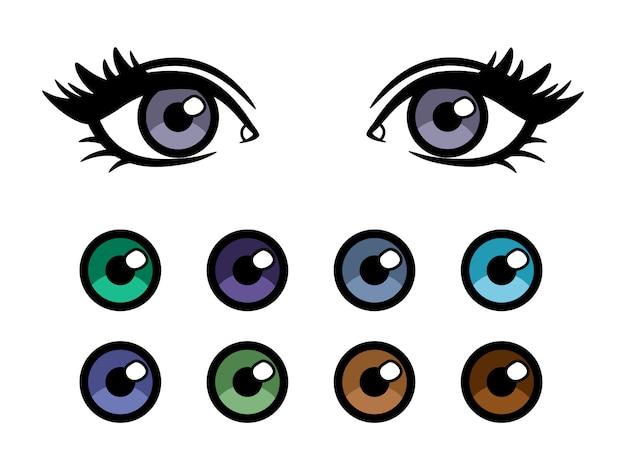 Plakat z kolorowymi soczewkami kontaktowymi o kobiecych oczach