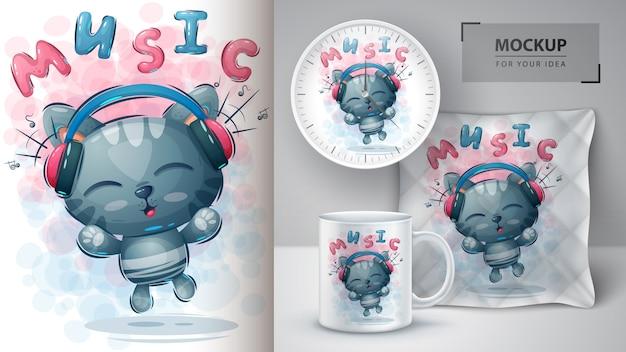 Plakat z kotami muzycznymi i merchandising