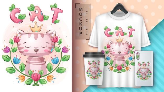 Plakat z kotem księżniczki i merchandising