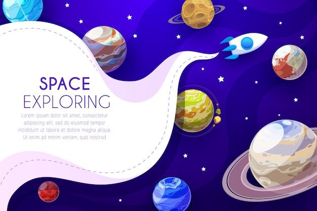 Plakat z kreskówkową eksploracją kosmosu z rakietą latającą wśród planet i gwiazd. galaktyka, eksploracja wszechświata.