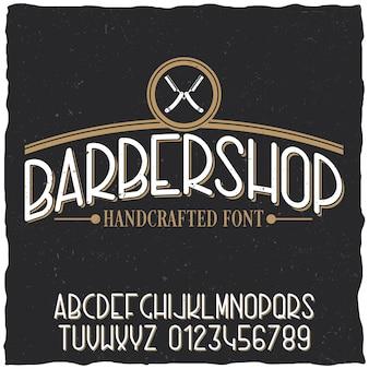 Plakat z krojem pisma fryzjerskiego z przykładowym projektem etykiety na zakurzonym