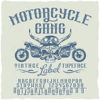Plakat z krojem pisma motocyklowego