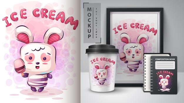 Plakat z królikami i lodami oraz merchandising