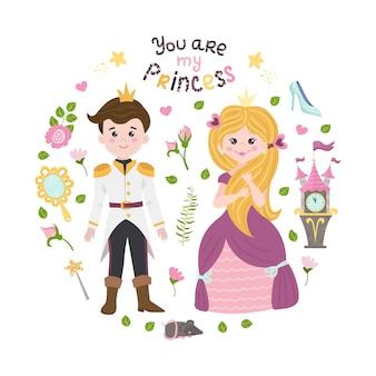 Plakat z księżniczką kopciuszkiem, księciem i literami