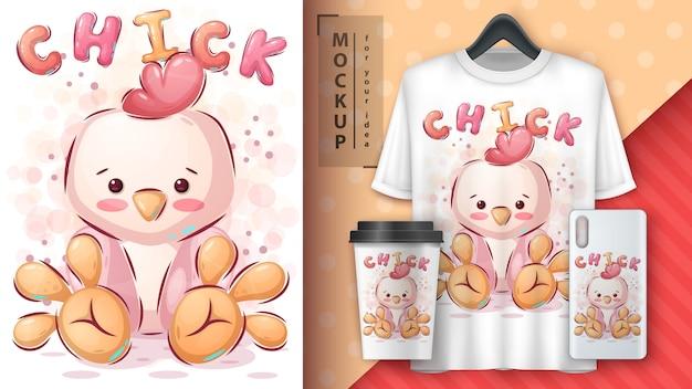 Plakat z kurczakiem i merchandising