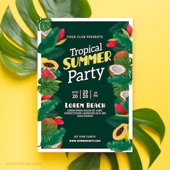 Plakat z letnią imprezą tropikalną
