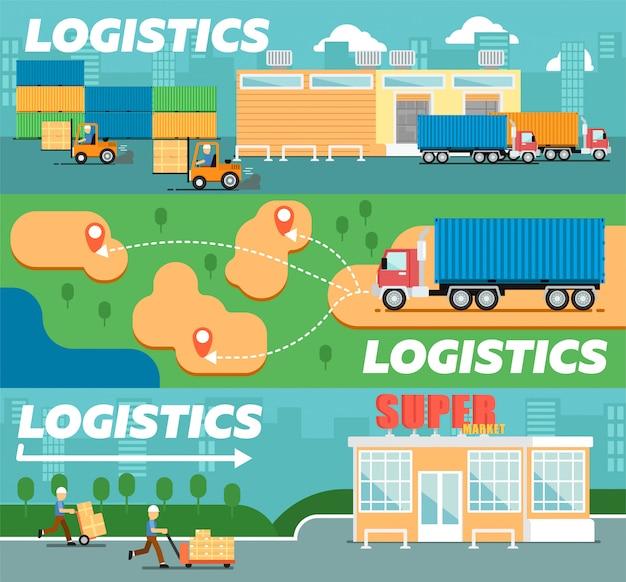 Plakat z logistyką i dystrybucją detaliczną