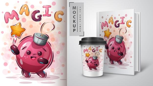 Plakat z magiczną kulą i merchandising