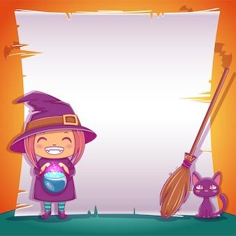 Plakat z małą wiedźmą z czarnym kotkiem i miotłą na happy halloween. edytowalny szablon z miejscem na tekst. do plakatów, banerów, ulotek, zaproszeń, pocztówek.