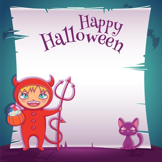 Plakat z małym dzieckiem w stroju diabła z czarnym kotkiem na imprezę happy halloween. edytowalny szablon z miejscem na tekst. do plakatów, banerów, ulotek, zaproszeń, pocztówek.