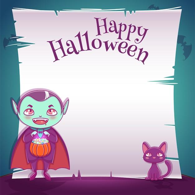 Plakat z małym dzieckiem w stroju wampira z czarnym kotkiem na imprezę happy halloween. edytowalny szablon z miejscem na tekst. do plakatów, banerów, ulotek, zaproszeń, pocztówek.