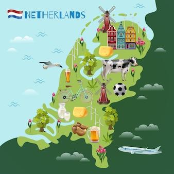 Plakat z mapą podróży kulturalnych w holandii