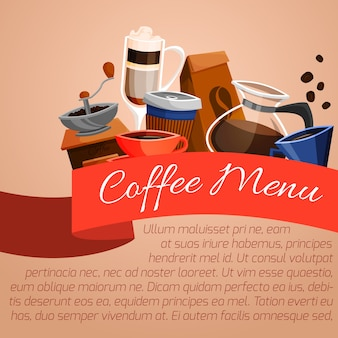 Plakat z menu kawy