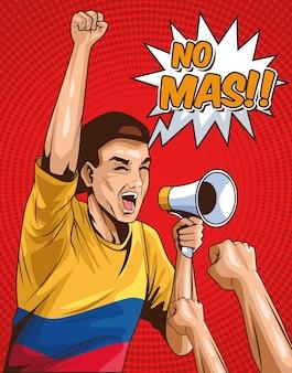 Plakat z mężczyzną protestującym w kolumbii