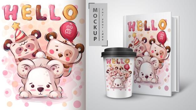 Plakat z misiami i merchandising