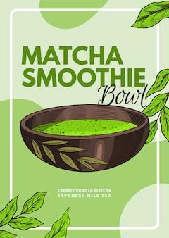 Plakat z miską smoothie matcha