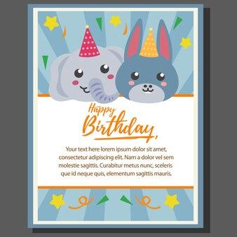 Plakat z motywem urodzinowym wszystkiego najlepszego z słonia i osła