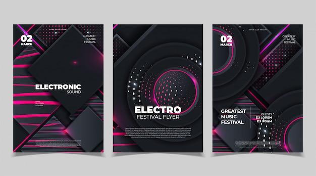 Plakat z muzyką electro sound party. elektroniczna muzyka klubowa. wydarzenie muzyczne disco trance. zaproszenie na imprezę nocną. plakat ulotki dj.