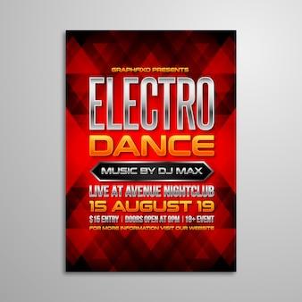 Plakat z muzyką elektronicznej imprezy tanecznej
