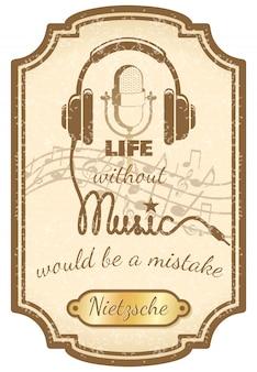 Plakat z muzyką na żywo w stylu retro