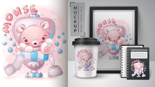 Plakat z myszą toaletową wc i merchandising