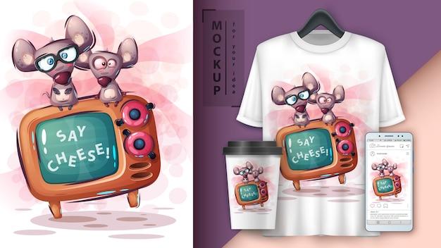 Plakat z myszką i telewizorem oraz merchandising