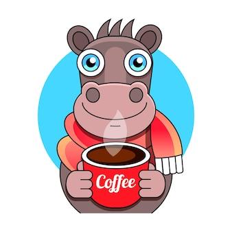 Plakat z nadrukiem konia i odwróconego kubka, napis kawa przyspiesza.