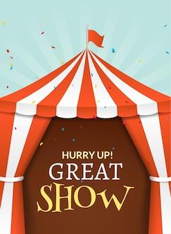 Plakat z namiotem cyrkowym. cyrk wydarzenie retro zaproszenie. zabawa karnawałowa ilustracja. wydajność rozrywkowa.