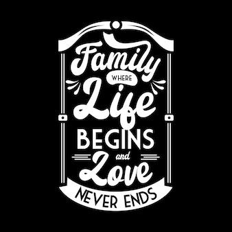 Plakat z napisami typografii o rodzinie, miłości i życiu