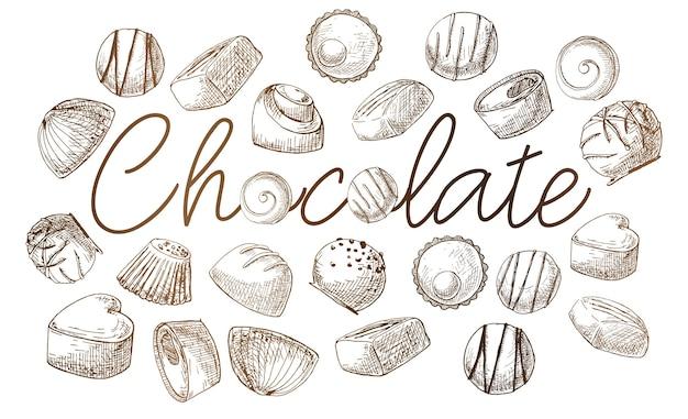 Plakat z napisem czekolada. ręcznie rysowane różne słodycze. ilustracja wektorowa stylu szkicu.