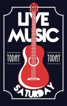 Plakat z napisem festiwalu muzyki na żywo z gitarą