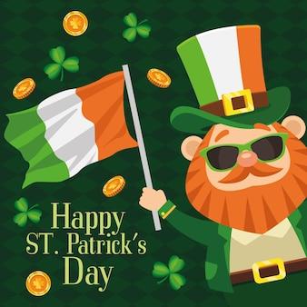Plakat z napisem happy saint patricks day z krasnoludkiem macha flagą irlandii