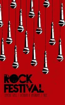 Plakat z napisem rock live festival z mikrofonami