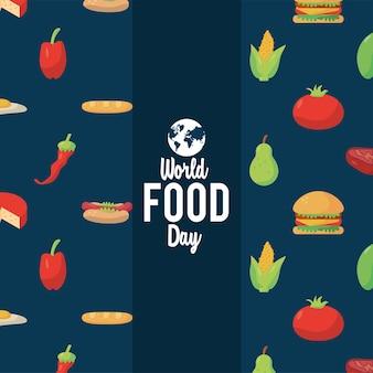 Plakat z napisem światowego dnia żywności z ilustracją wzoru żywności